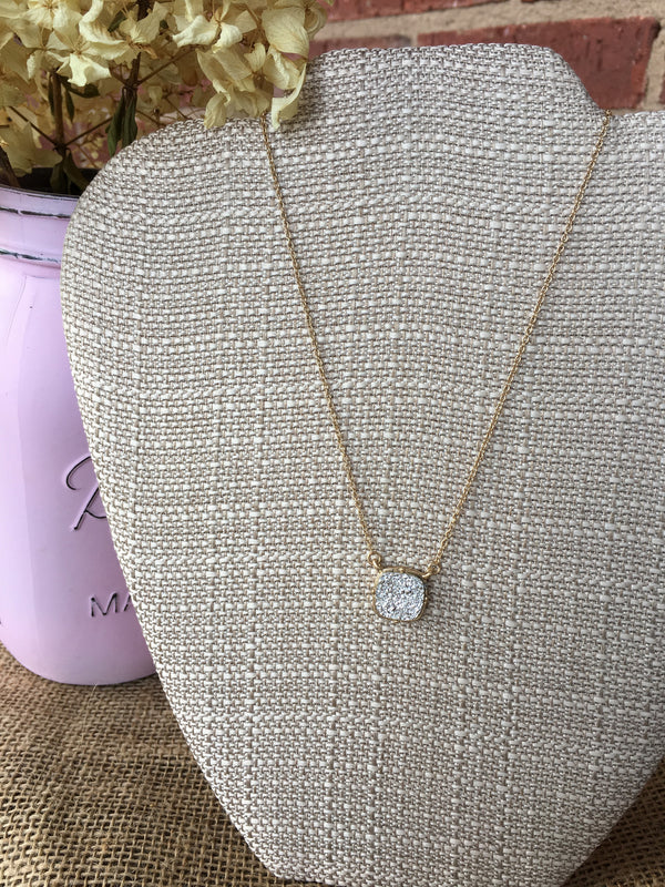 Silver Square Druzy Stone Necklace