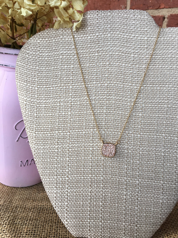 Rose Square Druzy Stone Necklace