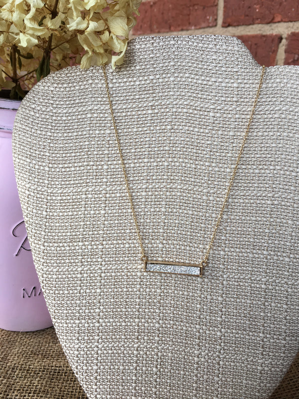 Silver Druzy Stone Horizontal Bar Necklace