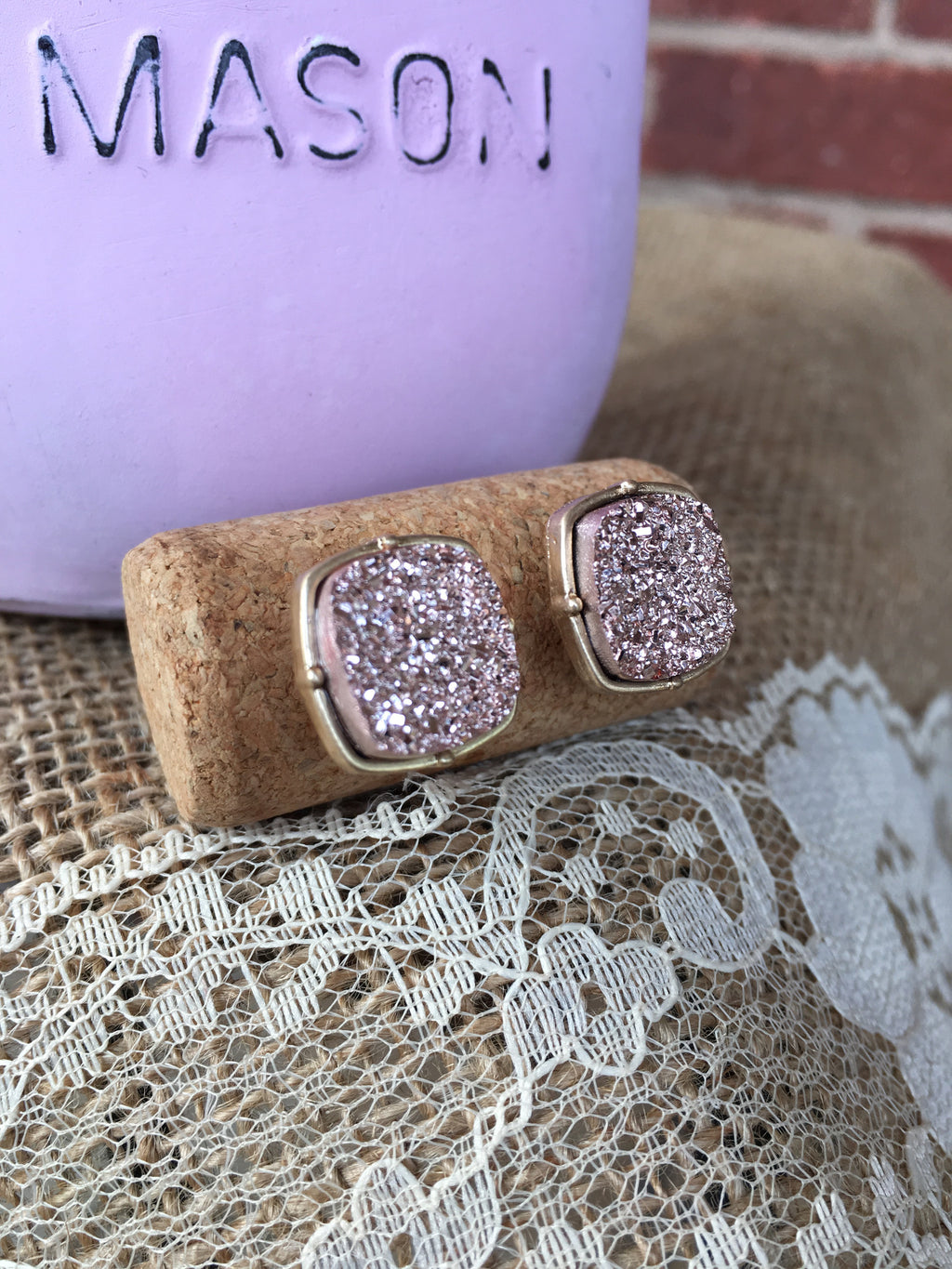 Rose Square Druzy Earrings