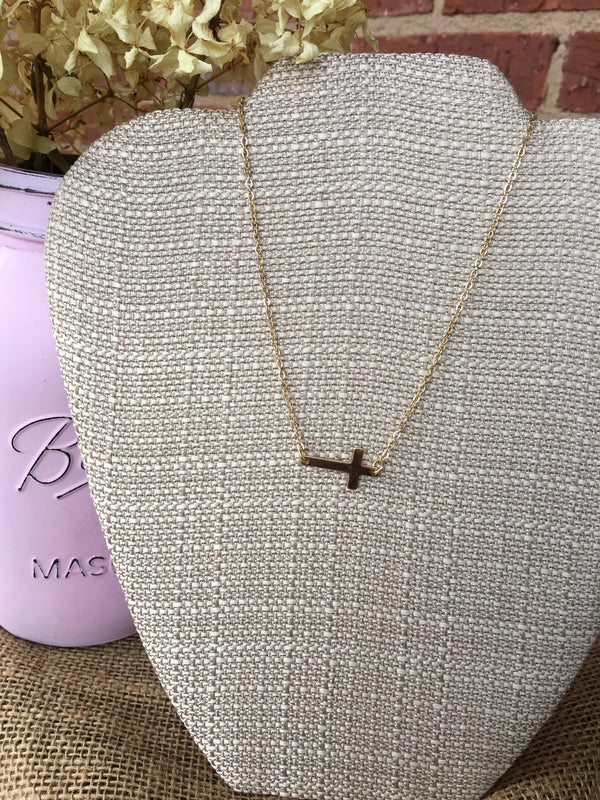 Gold Side Cross Necklace