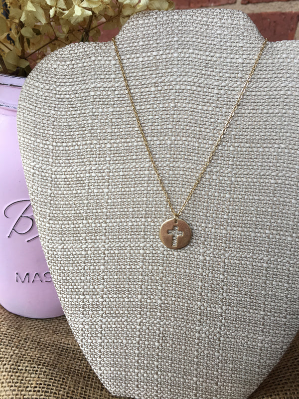 Gold Circle with Cross Cutout Necklace