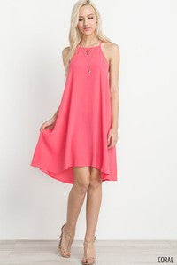 Halter Woven High-Low Dress