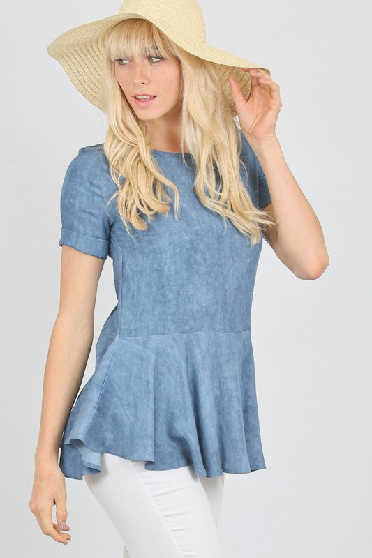 Blue Washed Challis Top - Blush Boutique Bremen