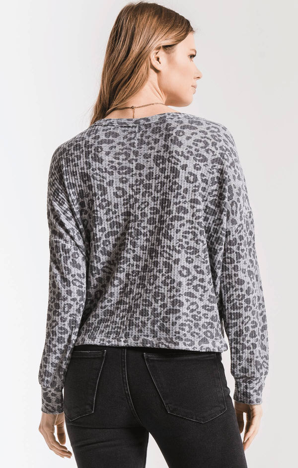 THE LEOPARD TIE-FRONT WAFFLE THERMAL TOP