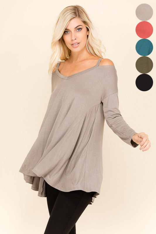 Open Shoulder Flare Tunic Top - Sale
