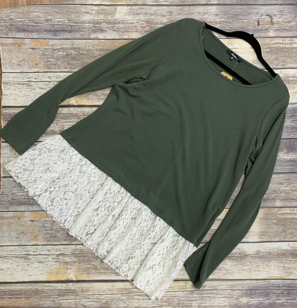 Olive French Terry Top with Lace