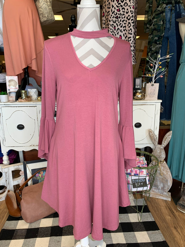 Beautiful Mock Neck Swing Dress