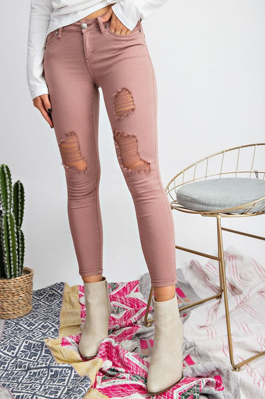LOW RISE SKINNY DISTRESSED STRETCH PANTS