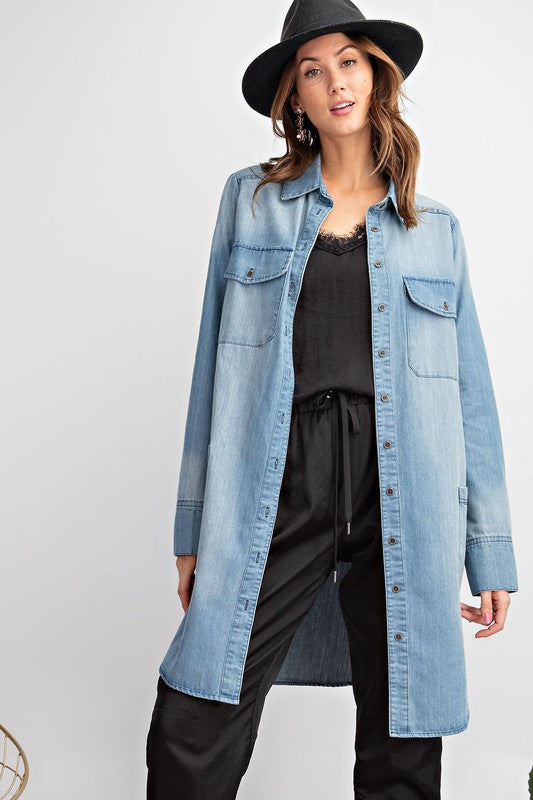 LULU SWEET WASHED DENIM SHIRT DRESS