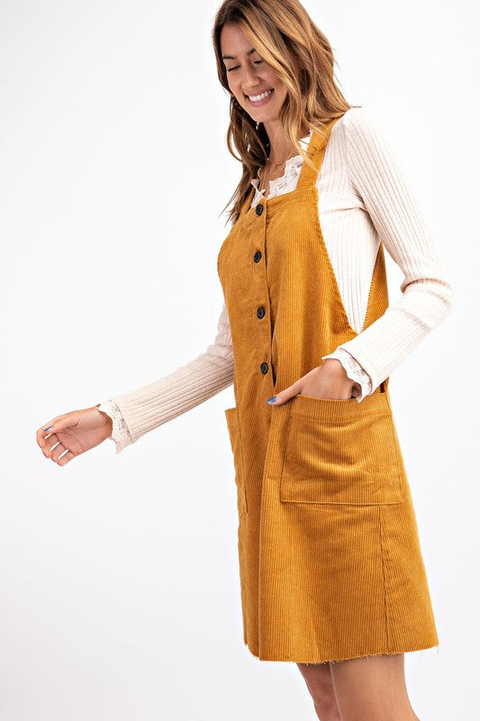 CORDUROY BUTTON DOWN OVERALL JUMPER DRESS
