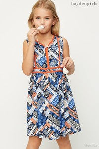 Tweens Blue Mix Printed Sleeveless Dress