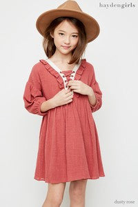 Tweens Dusty Rose Peasant Dress