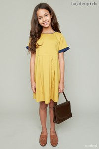 Tweens Mustard Pleated Babydoll Dress