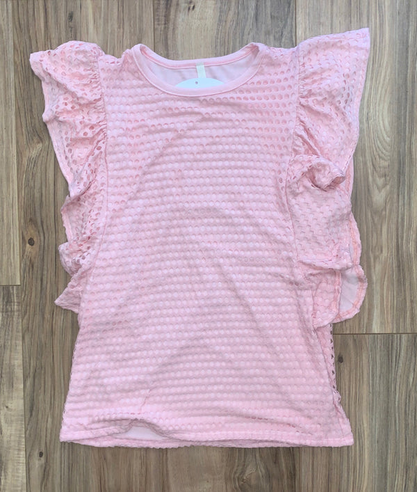 KIDS PINK SIDE RUFFLE TOP WITH CUTOUTS IN FRONT