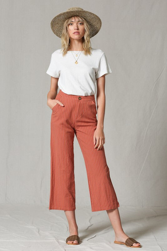 Rust Striped High Waisted Pants