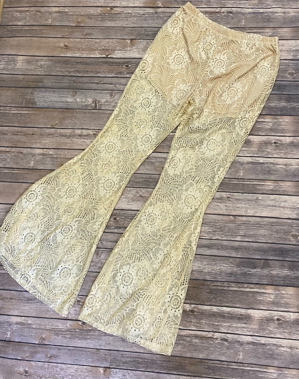 NATURAL LACE BELL BOTTOMS PANTS