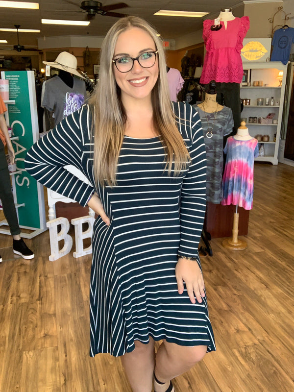 Striped Dress Teal - Sale