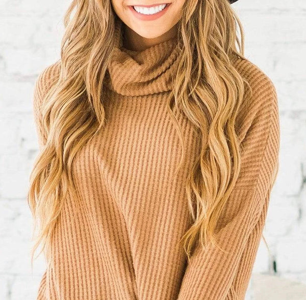 Waffle Knit Cowl Neck Dress