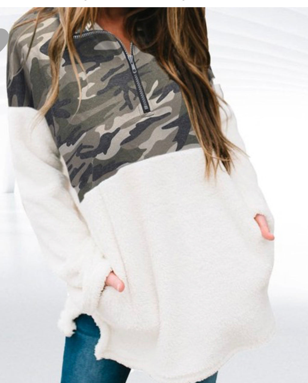 Camo patched fuzzy sweater