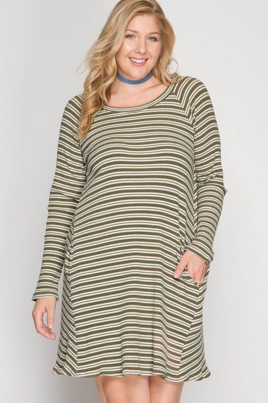 Curvy Ribbed Stripe Long Sleeve Dress