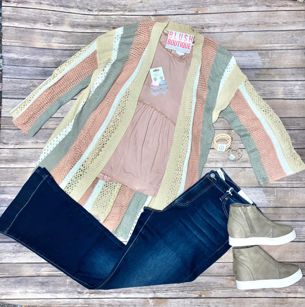 Pastel Stripe Open Knit Cardigan