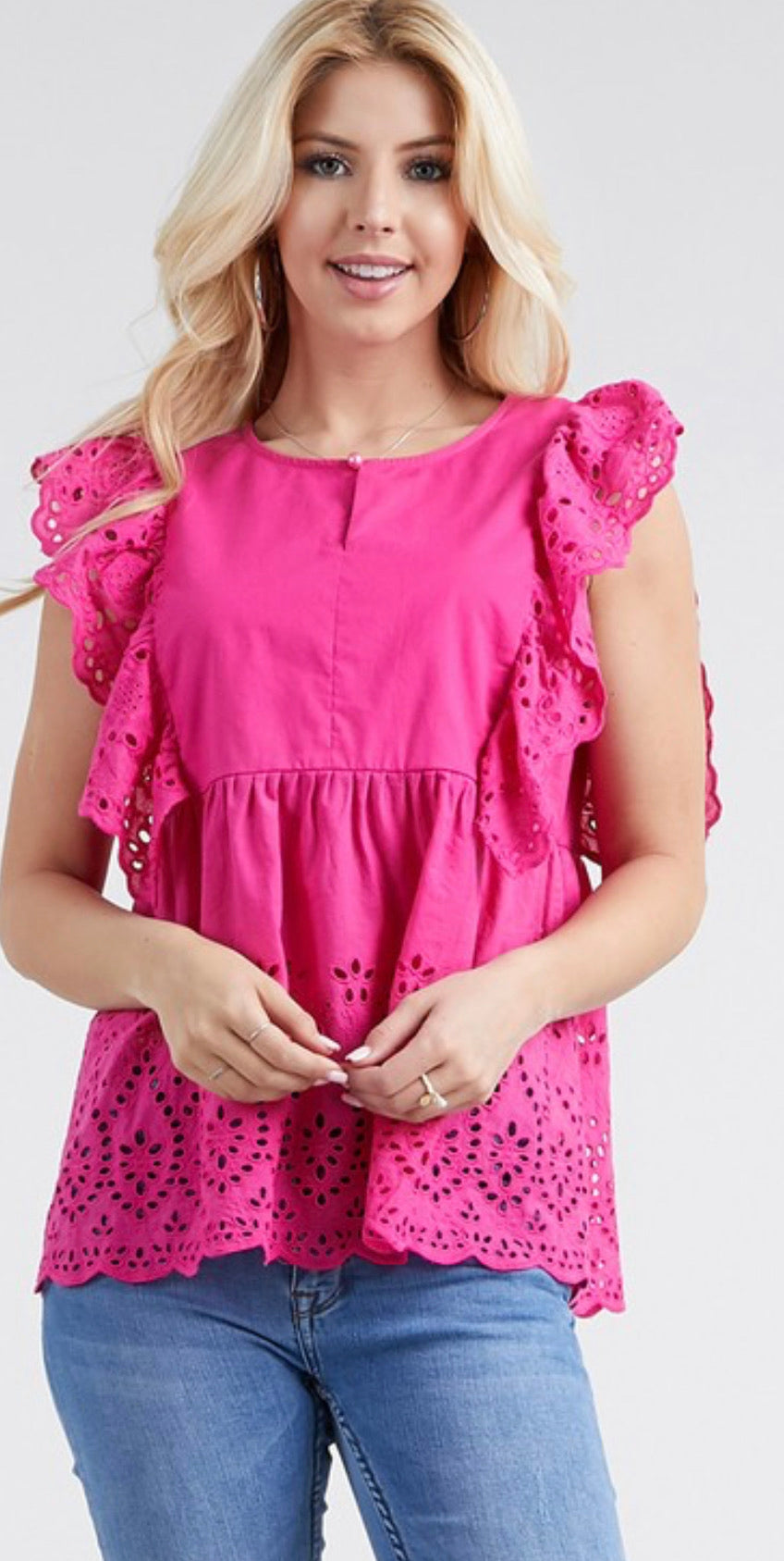 RUFFLE AND DETAILS TOP-NEON FUCHSIA