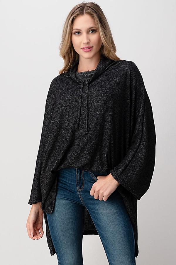 Ribbed Cowl Neck Poncho Top