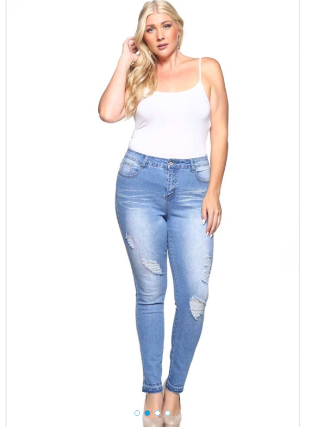 Plus-Size Ripped Skinny Jeans