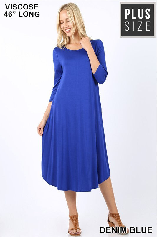Curvy-Midi Dress Solid with Pockets