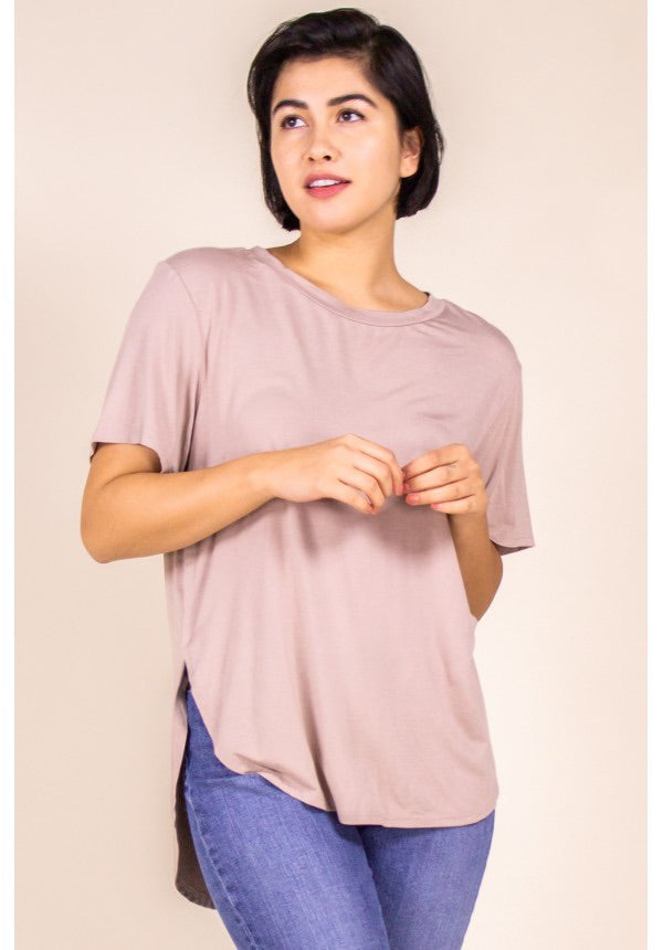 CURVY BAMBOO SOLID SHORT SLEEVE TOP