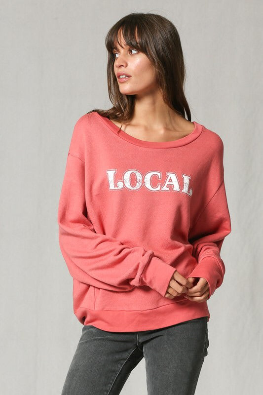 """Local"" french terry sweatshirt Top - Blush Boutique Bremen"