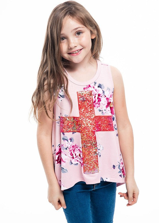 Kids' Sequin Cross Sleeveless top - Blush Boutique Bremen
