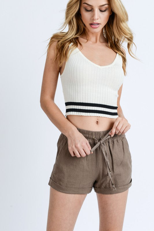 Linen WaistBand Shorts w/ String Tie