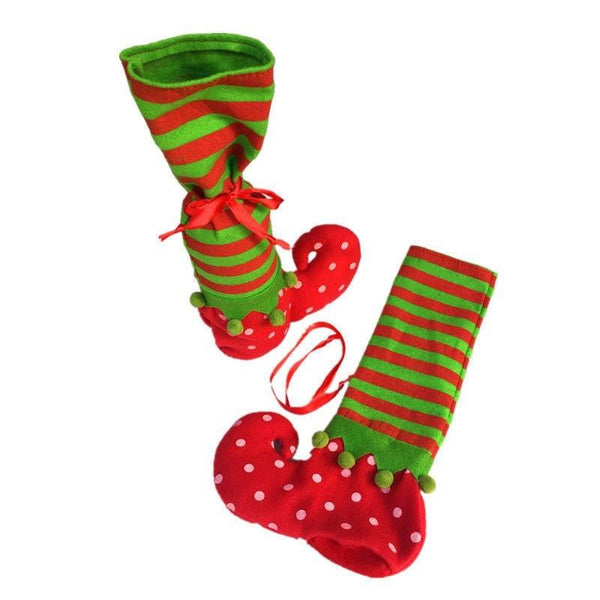 Polka Dot Elves Stockings Candy Bag Pouch 2PC