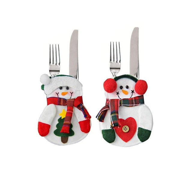 Christmas Decorations Snowman Silverware Holders 8Pcs