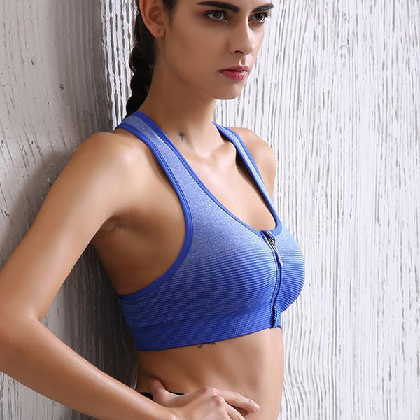Zipper Stripe Sports Bra