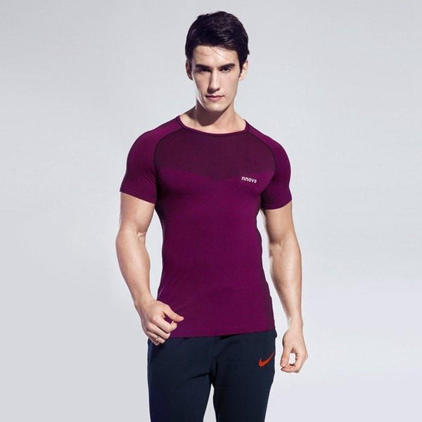 Men Light Compression Sports Short Sleeve Skin Tight Shirt - FitShopPro