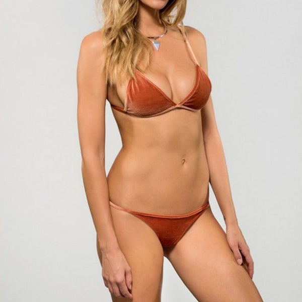 Trendy Velvet Triangle Bikini