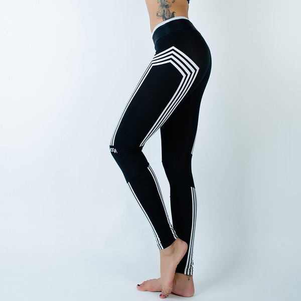 Slim Fitness Leggings With White Stripes