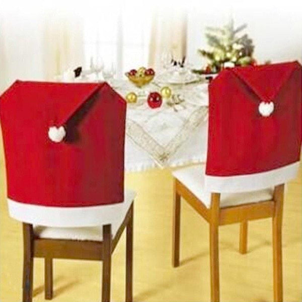 Santa Claus Red Hat Chair Back Cover Christmas Dinner 4 pcs
