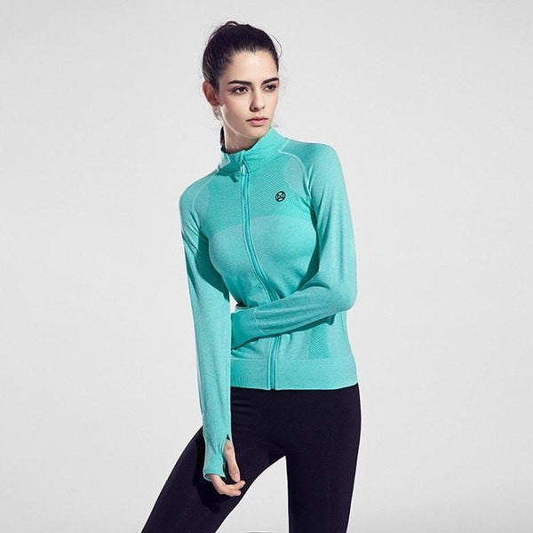 Women Fitness Fast Drying Gym Zip Jacket - FitShopPro