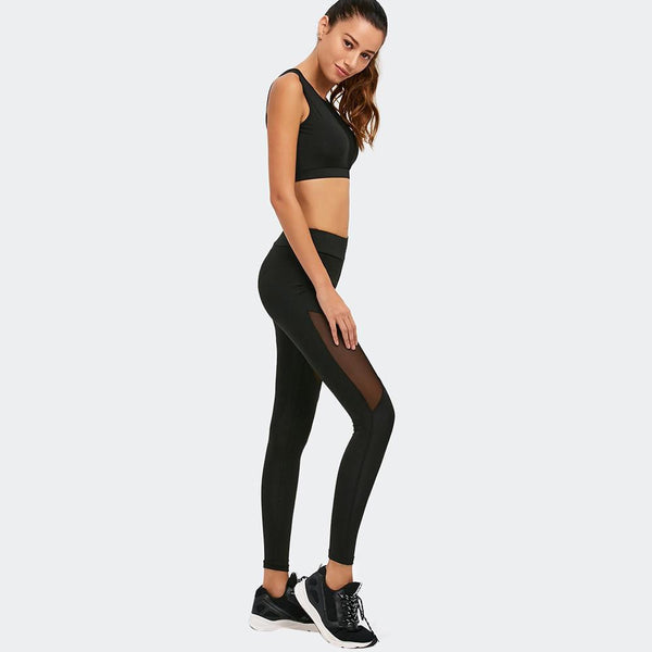 Sexy Elegant Black Mesh Set For Fitness & Yoga