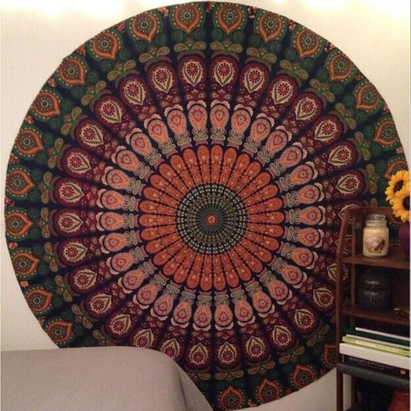 Round Yoga Bohemian Colorful Mandala Beach Pareo