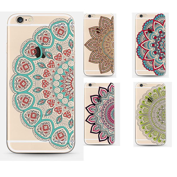 FREE * iPhone Case* 6/6S Transparent Flower Mandala Soft Silicon Phone Case