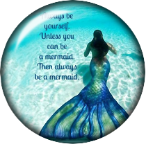 Be a Mermaid Glass Snap Charm