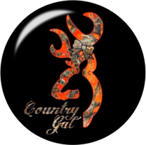 Black Country Girl Glass Snap Charm