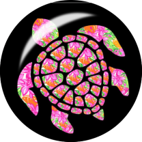 Neon Turtle Glass Snap Charm