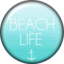 Beach Life Glass Snap Charm