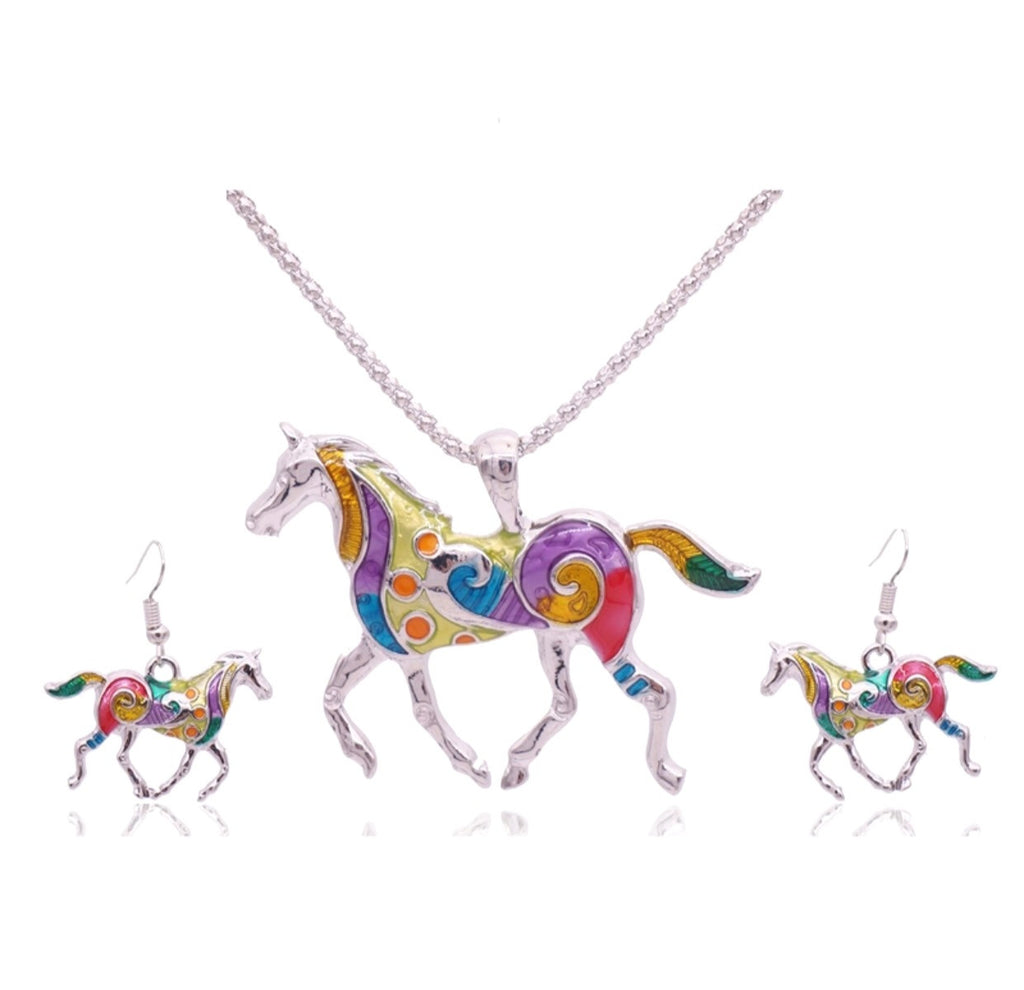 Horse Bright Earring & Pendant Set